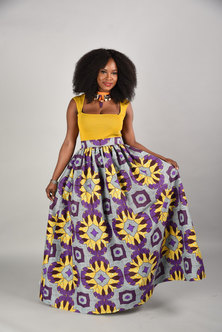 JAVING High Waist Tribal Print Flared Maxi Skirt   purple yellow