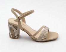 LaMara Paris Mindi faux leather snake-print block heel sandals beige