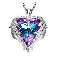 Civetta Spark Angel Wing necklace made with Swarovski purple light