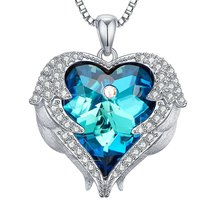 Civetta Spark Angel Wing necklace made with Swarovski Blue Light Crystal