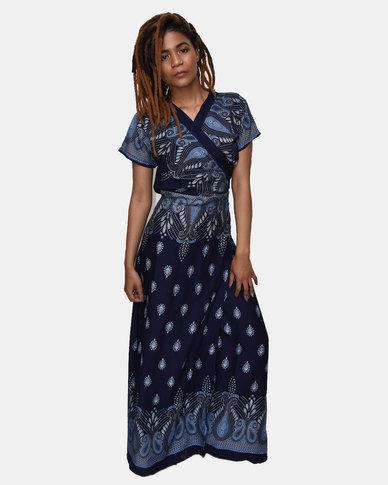 SKA Drop Print Long Kimono Navy
