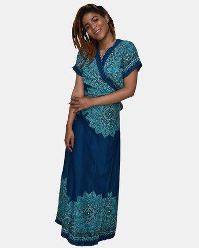SKA Mandala Print Long Kimono Teal
