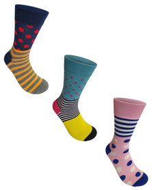 Undeez 3 Pack Bright Trouser Socks Pack 4