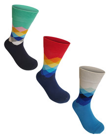Undeez 3 Pack Bright Trouser Socks Pack 5