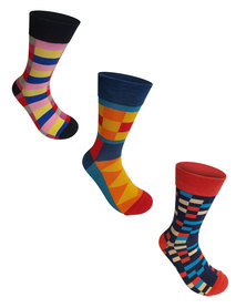 Undeez 3 Pack Bright Trouser Socks Pack 9