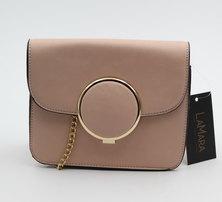 LaMara Paris Marli smooth faux leather blush nude evening bag