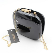 LaMara Paris Valentina pebble patent evening clutch bag black