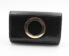 LaMara Paris Madrid croc-embossed faux leather clutch bag black