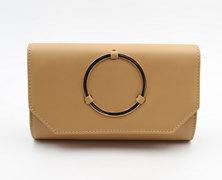 LaMara Paris Madrid smooth embossed faux leather clutch bag nude