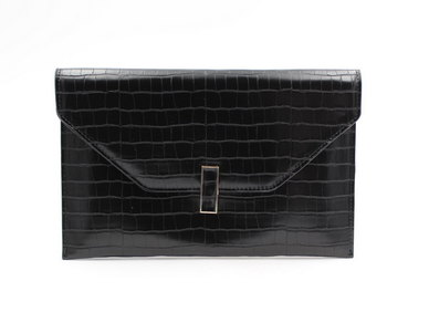 LaMara Paris croc-embossed faux leather wallet-on-chain evening bag black