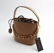 LaMara Paris Selin faux leather bucket shoulder bag tan