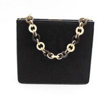 LaMara Paris Adriana black print clutch bag