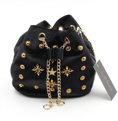 LaMara Paris Camila gold toned signature faux velvet pouch bag