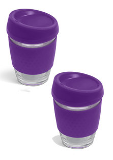 Always Summer 2 Pack Glass Travel Coffee Cups Purple