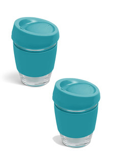Always Summer 2 Pack Glass Travel Coffee Cups Turquoise