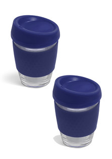 Always Summer 2 Pack Glass Travel Coffee Cups Navy