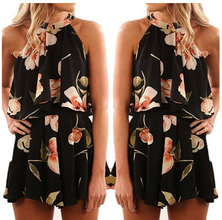 JAVING Floral Print Ruffle Foldover Halter Playsuit   black peach