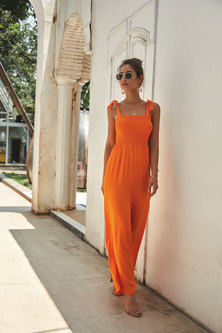 JAVING Shoulder Tie Smocked Wide Leg Jumpsuit   orange