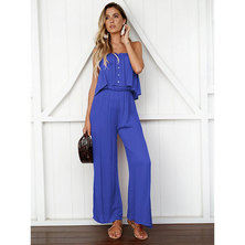 JAVING Button Front Ruffle Foldover Strapless Wide Leg Jumpsuit   blue