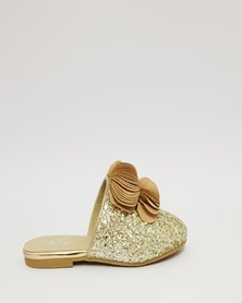 Anjo Couture Ruffle Mule Gold Glitter