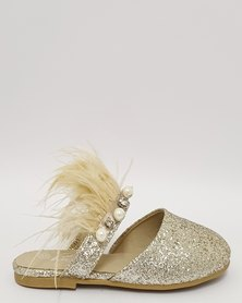 Anjo Couture Feather Mule Gold Glitter