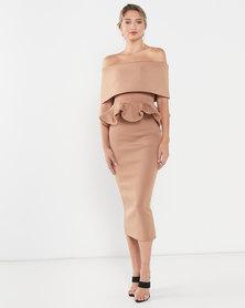 LaMara Paris Lora pencil skirt and off shoulder set beige