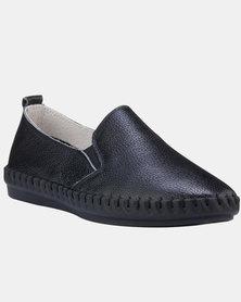 Julz Gabbi Black 2.0 Leather Slip On Sneakers