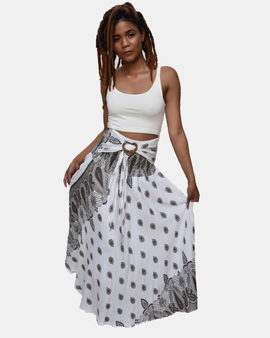 SKA Brown Drop Print Coconut Belt Skirt White