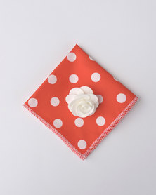 K M Creations Pocket Square With Contrast Lapel Flower Red