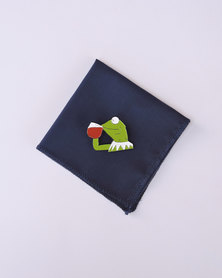 K M Creations Pocket Square With Contrast Lapel Flower Blue