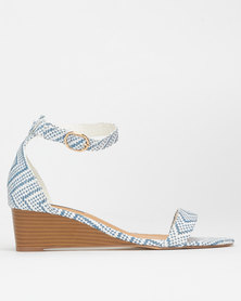 Madison Iliana Woven Stripe Wedges Blue