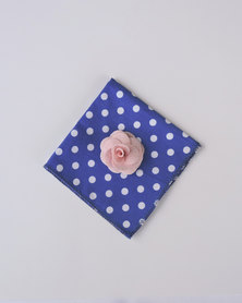 K M Creations Pocket Square With Contrast Lapel Flower Navy