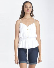 Contempo Button Front Peplum Tie Cami White
