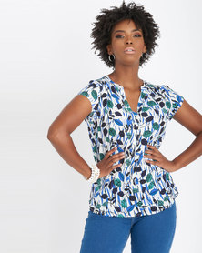 Contempo Short Sleeve Henley Blue