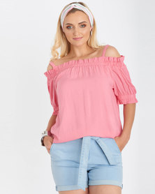 Contempo Off Shoulder Strappy Top Pink