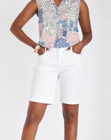 Contempo Twill Shorts White