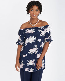 Contempo Multi Printed Off Shoulder Top Navy