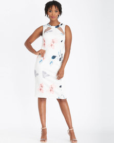 Contempo Multi Printed Dress With Mesh Insets  Ivory