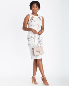 Contempo Multi Printed Dress With Mesh Insets Grey
