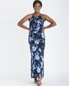 Contempo Print Maxi Dress With Side Slit Navy