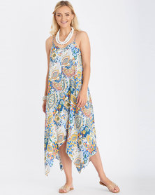 Contempo Print Maxi Dress With Side Slit Multi