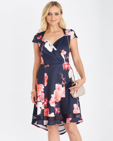 Contempo Multi Scuba Printed Floral Dress Navy