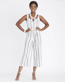 Contempo Stripe Jumpsuit Ivory