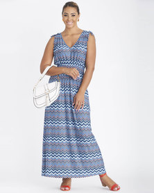 Contempo Multi Printed Maxi Dress Blue