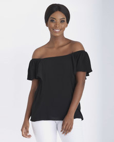 Contempo Plain Crinkle Top Black