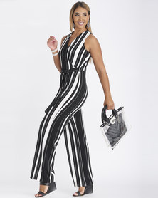 Contempo Printed Stripe Jumpsuit Black