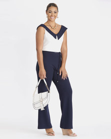 Contempo Block Colour V-Neck Jumpsuit Navy