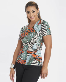 Contempo Multi Slinky Foiled Top With Trim Multi