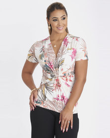 Contempo Multi Printed Knot Front Top  Ivory