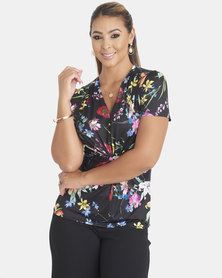 Contempo Printed Knot Front Top Multi